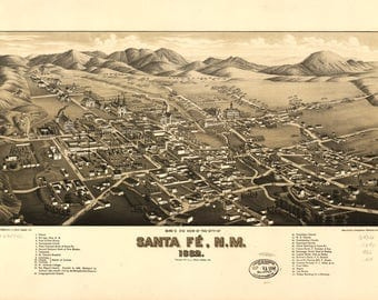 Santa Fe NM Panoramic Map dated 1882. This print is a wonderful wall decoration for Den, Office, Man Cave or any wall.