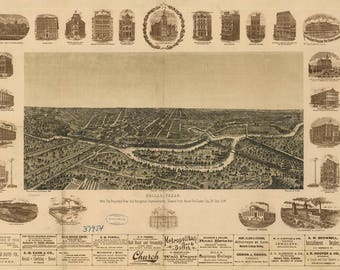 Panoramic Map of Dallas TX dated 1892. This print is a wonderful wall decoration for Den, Office, Man Cave or any wall.