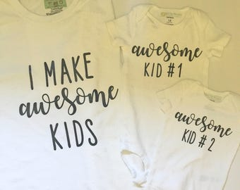 I Make Awesome Kids Parent and Child Matching Tee Shirt Set
