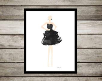 Fashion illustration, fashion sketch, Black dress, fashion watercolor, Gown, fashion, painting, fashion drawing watercolor poster model