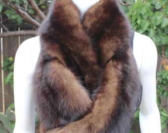 "Stunning Genuine Russian Barguzin Sable Fur "" 39"" Vintage Boa Scarf Stole Wrap Shawl Sobol Zobel 黑貂 Zibeline 黒 てん"