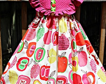 Girls Apple Dress dress- Toddler Girls Apple Dress- Fall Harvest Dress- Back To School- First Day of school- Size 2t, 3t, 4t, 5,6,7,8