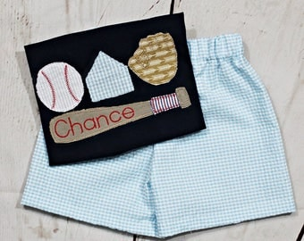 Boys Baseball Shirt- Toddler boys- Baseball Gear- Baby Boys- Baseball Bat Shirt- Baseball Glove- Short Set- 6m, 12m, 18m, 2t, 3t, 4t, 5, 6