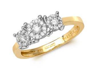 9ct Trilogy 0.41ct Diamond Yellow Gold Diamond- British Hallmark