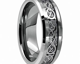 Personalised Celtic Silver Black Ring  Tungsten Carbide Ring Wedding Band 8mm -Comfort fit Ideal For Men- Women Unisex-Wedding Anniversary