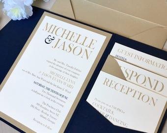 Pocket Wedding Invitations, Navy and Gold Wedding Invitations, Navy and Gold Pocket Invitations, Monogram Invitations, Elegant Invitations