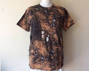 Men's Post Apocalyptic Bleached & Distressed T-Shirt Wastelander Wasteland Cosplay Costume Cotton Men's Size Large Short Sleeves