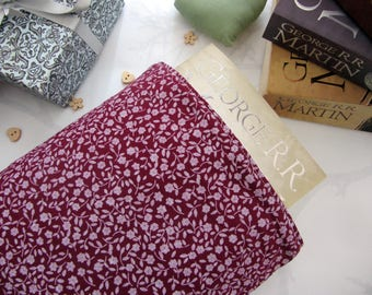 Book Sleeve - Floral Maroon - Book Cover - Book Protector - Bookworm Gift - Reusable Book Cover - Paperback Cover - Fabric Book Cover