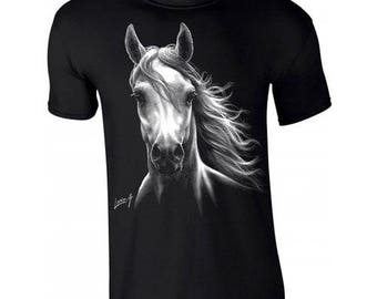 Kids black T-shirt with a white horse