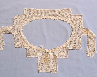 Crocheted Bodice Yoke for Victorian Nightgown, Ribbon Bow