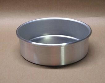 "Cake Pan 6"" Inch Aluminum Seamless Hand Spun, Handmade, New, Metal Spinning,"