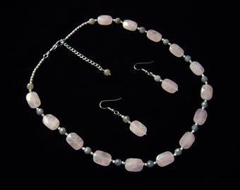 Rose quartz necklace Pink statement necklace Rose quartz set Wife birthday gift Labradorite necklace Gift for mother Statement jewelry set