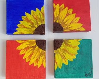 Four part sunflower painting