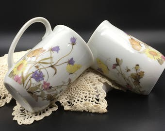 Butterly Mugs, Nature Garden Society, Vintage Enesco Mugs, 1975, Pair of Mugs, Butterflies and Flowers