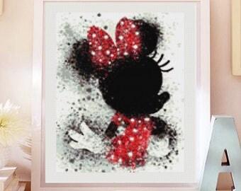 Minnie Mouse cross stitch pattern  PDF, Minnie Mouse patron punto de cruz. Cross stitch modern pattern pdf (#58)