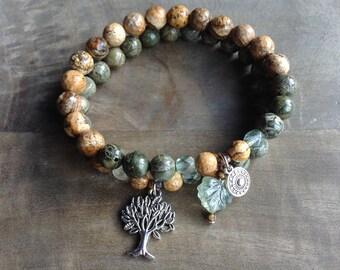 Bohemian bracelet set boho chic bracelet hippie bracelet gypsy bracelet gemstone womens jewelry rustic bracelet boho bracelet beaded jewelry