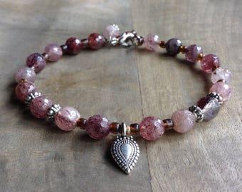 Strawberryquartz bohemian bracelet boho chic bracelet rustic bracelet gemstone womens jewelry boho jewelry boho chic jewelry boho bracelet