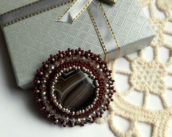 Agate Brooch, Bead embroidered Brooch, Brown Agate Brooch, Beadwork Brooch , Handmade Jewelry