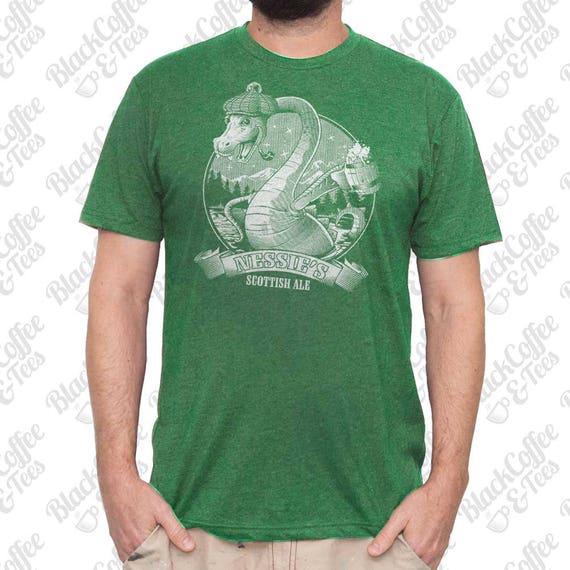 St Patricks Day Shirt - Loch Ness Monster Shirt - Craft Beer Shirt - Nessie The Loch Ness Monster Hand Printed on a Mens Green T Shirt