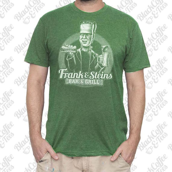 Mens St Patricks Day Shirt - Mens Frankenstein Shirt -Craft Beer Shirt- Mens St Pattys Day Shirt- Frank and Steins Bar and Grill Mens Shirt