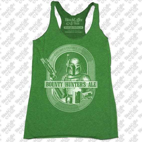 St Patricks Day Shirt -Star Wars Beer Shirt -Womens Boba Fett Bounty Hunter Ale Hand Screen Printed on a Womens Green Tank Top-St Pattys Day