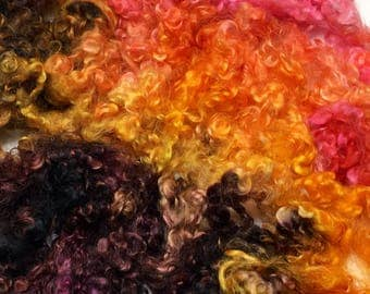 Hand dyed wool locks, Teeswater/Wensleydale X.  Expertly dyed for your spinning, weaving or felting fiber adventure