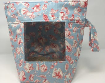 Knitting and Crochet Project Bag - Mega Peekaboo - blue and red  floral