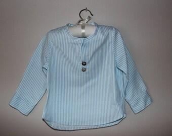 Blue striped boy cotton shirt