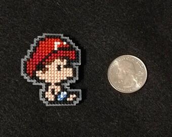 Baby Mario Cross Stitched Refrigerator Magnet