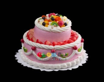 Dollhouse Miniatures Two Tier Fancy Strawberry Fruit Cream Cake