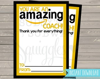 PRINTABLE Amazon Gift Card Holder, Thank You for being an Amazing Coach Gift, End of the Year Coach Gift, Coach Appreciation Printable
