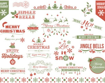 Digital Red and Green Christmas Clip Art, Christmas Frame Clipart, Christmas Cards Invitation DIY, Christmas Scrapbook Embellishment 0423