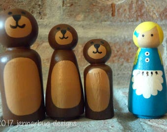 Goldilocks and the Three Bears Handpainted Peg Dolls - 4 Peg Doll Set