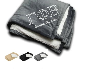 Gamma Phi Beta // Gamma Phi // Sorority Embroidered Sherpa Blanket // Bid Day Gift // Big & Little Gift // Recruitment Gifts