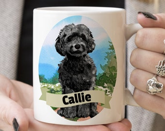Black Cockapoo Custom Dog Mug - Get your dogs name on a mug - Dog Breed Mug - Great gift for dog owner - Cockapoo mug