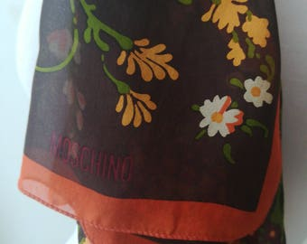 Moschino vintage silk scarf with flowers.