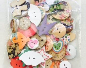 CLOSING SALE 60 Pcs Wooden Buttons, Painted Wooden Button Assortment, Grab Bag, Bout 097