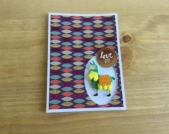 Llama card, bright card, birthday card, any occasion, note card, gift card, animal card