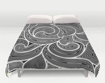 Black and White Abstract Duvet Cover , Abstract Duvet , Bedding , Dorm Bedding , Bedroom Decor , Housewares , Black And White , Queen Duvet
