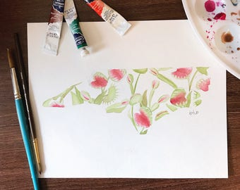 NORTH CAROLINA State • Venus Fly Trap Watercolor • Original Flower Floral Painting • Red and Green • 8x10