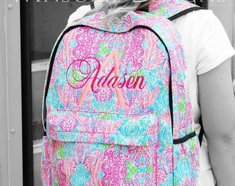 Preppy Backpack-Personalized Kids Backpack-Monogram Backpack-Girls Backpack-School Backpack-Canvas Backpack-Designer Backpack-Lilly Pulitzer