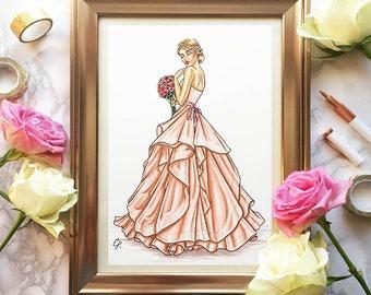 Custom Bridal Illustration Bride - Ink and Watercolour Illustration
