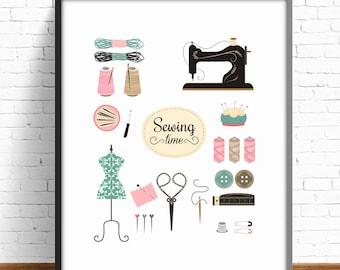 Sewing print, vintage sewing print, sewing wall decor, wall decor print, craft room wall art, craft room decor, physical illustration