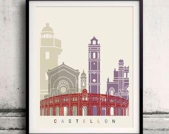 Castellon skyline poster - Fine Art Print Landmarks skyline Poster Gift Illustration Artistic Colorful Landmarks - SKU 2406