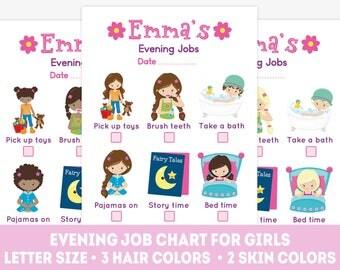 Bedtime chore chart, girl evening routine, printable reward chart, gril to do list, kids job chart, bedtime routine, girl evening job chart