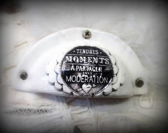 "1 handle shell: ""Tender Moments to share"" in earths glazed terracotta (homemade)"