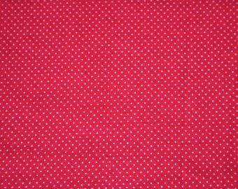 Red Polkadot Fabric, Yardage and Remnant, 100% Cotton Fabric; Destash Fabric, Spotted Fabric, Red Pattern Fabric, White Spots Fabric