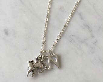 unicorn necklace,silver unicorn,unicorn lover,initial letter charm, personalised gift,gift for her,silver chain necklace
