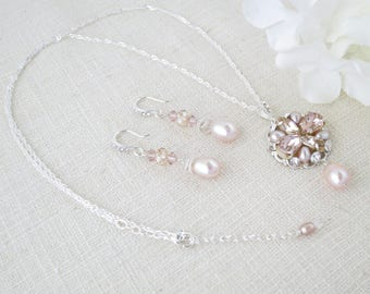 Pearl bridal jewelry set, Pink pendant necklace and earring set, Swarovski crystal and freshwater pearl bridal set, Unique one of a kind set