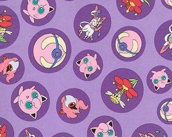 ON SALE Pokemon Purple Character Bubbles Fabric, Pokemon Fabric, Pikachu on Purple Kaufman fabric 72037 / Yardage / Pokemon Go Quilt